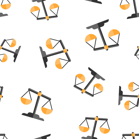 Scale comparison icon seamless pattern background. Balance weight vector illustration. Scale compare symbol pattern. Иллюстрация