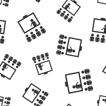 Training education icon seamless pattern background. People seminar vector illustration. School classroom lesson symbol pattern.