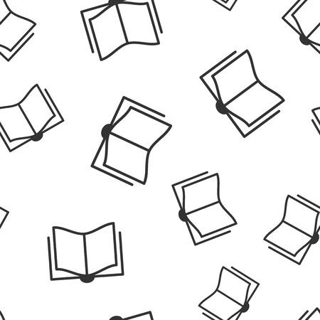 Book education icon seamless pattern background. Literature magazine vector illustration. Book paper symbol pattern. Illusztráció