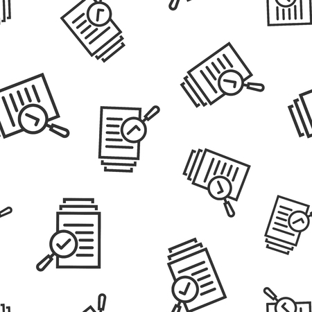 Scrutiny document plan icon seamless pattern background. Review statement vector illustration. Document with magnifier loupe symbol pattern.