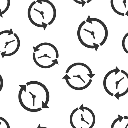 Clock countdown icon seamless pattern background. Time chronometer vector illustration. Watch clock symbol pattern.