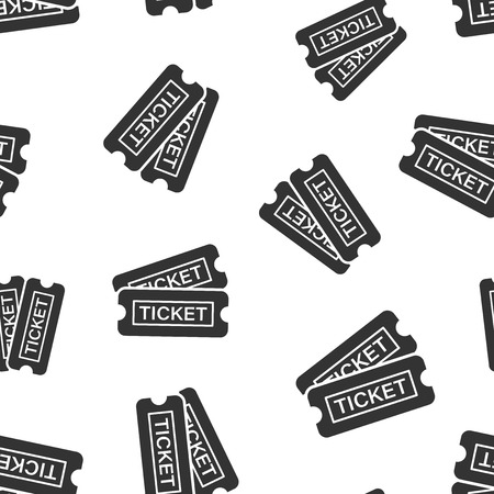 Cinema ticket icon seamless pattern background. Admit one coupon entrance vector illustration. Ticket symbol pattern. Illustration