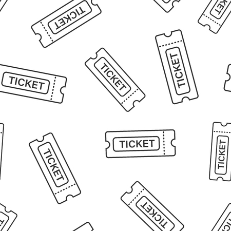 Cinema ticket icon seamless pattern background. Admit one coupon entrance vector illustration. Ticket symbol pattern.  イラスト・ベクター素材