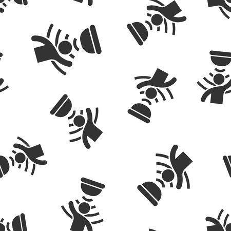 Motion sensor icon seamless pattern background. Sensor waves with man vector illustration. People security connection symbol pattern.