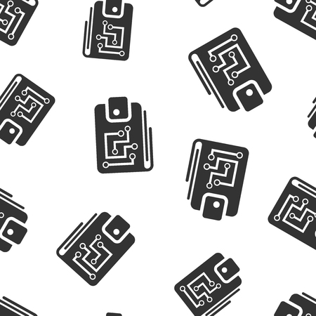 Digital wallet icon seamless pattern background. Crypto bag vector illustration. Online finance, e-commerce symbol pattern.