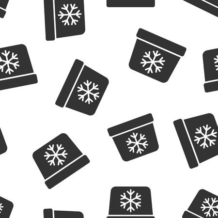 Portable fridge refrigerator icon seamless pattern background. Freezer bag container vector illustration. Fridge symbol pattern.