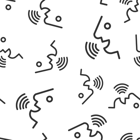 Voice command with sound waves icon seamless pattern background. Speak control vector illustration. Speaker people symbol pattern. Illustration