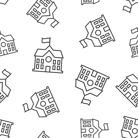 School building icon seamless pattern background. College education vector illustration. Bank, government symbol pattern.