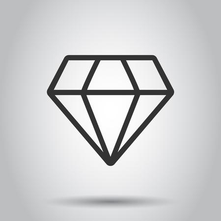 Diamond jewel gem vector icon in flat style. Diamond gemstone illustration on white background. Jewelry brilliant concept.