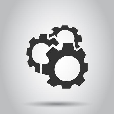 Gear vector icon in flat style. Cog wheel illustration on white background. Gearwheel cogwheel business concept. Foto de archivo - 116448633