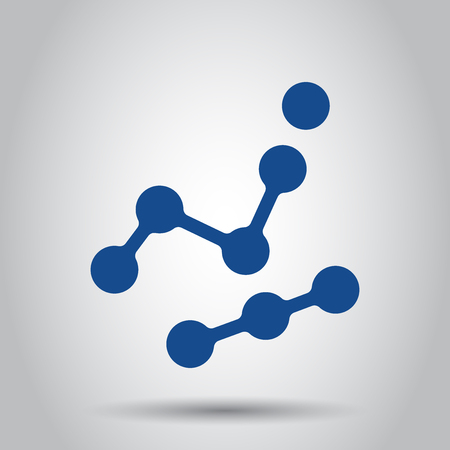 Dna vector icon. Medecine molecule flat illustration on white background. Simple business concept pictogram.