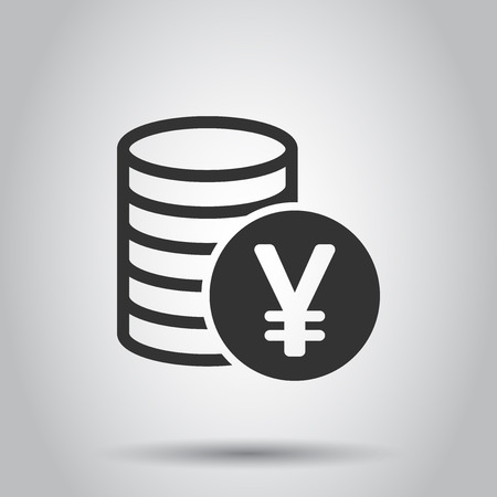 Yen, yuan money currency vector icon in flat style. Yen coin symbol illustration on white background. Asia money business concept. Illustration