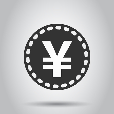 Yen, yuan money currency vector icon in flat style. Yen coin symbol illustration on white background. Asia money business concept. 向量圖像