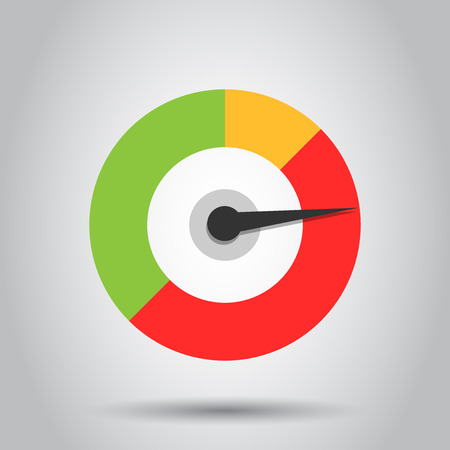 Meter dashboard icon in flat style. Credit score indicator level vector illustration on white background. Gauges with measure scale business concept.