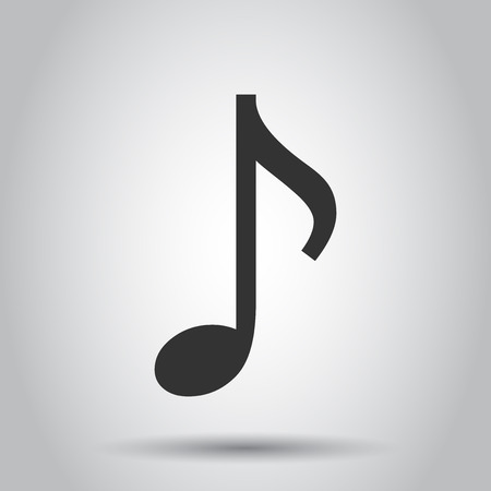 Music note icon in flat style. Sound media illustration on white background. Audio note business concept.