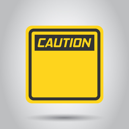 Warning, caution sign icon in flat style. Danger alarm vector illustration on white background. Alert risk business concept.