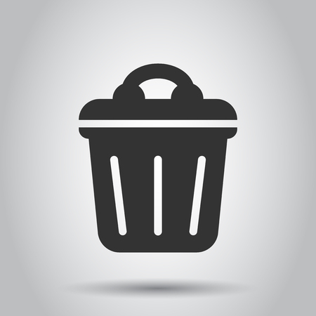 Trash bin garbage icon in flat style. Trash bucket vector illustration on white background. Garbage basket business concept.