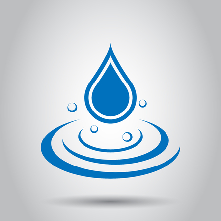 Water drop icon in flat style. Raindrop vector illustration on white background. Droplet water blob business concept. Ilustração