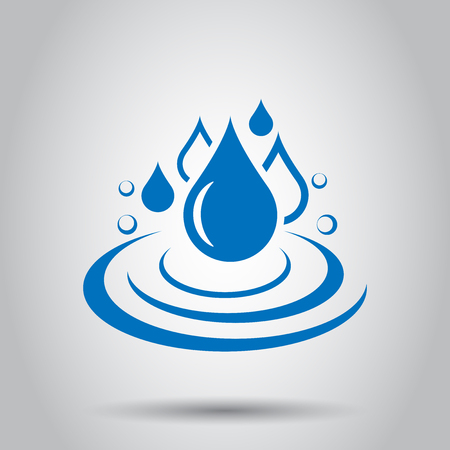 Water drop icon in flat style. Raindrop vector illustration on white background. Droplet water blob business concept. Illustration