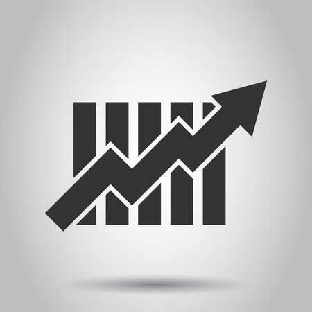 Groeiend staafdiagrampictogram in vlakke stijl. Verhogen pijl vectorillustratie op witte achtergrond. Infographic vooruitgang bedrijfsconcept. Vector Illustratie