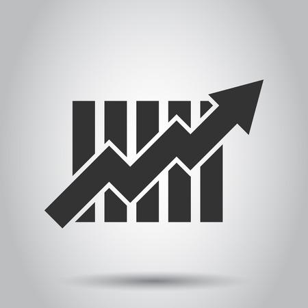 Icono de gráfico de barras creciente en estilo plano. Aumentar la ilustración de vector de flecha sobre fondo blanco. Concepto de negocio de progreso de infografía. Ilustración de vector