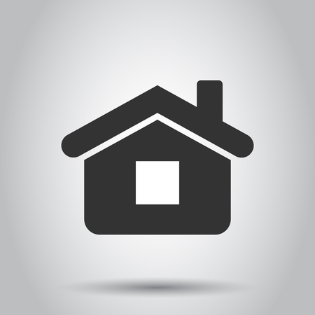 House building icon in flat style. Home apartment vector illustration on white background. House dwelling business concept.