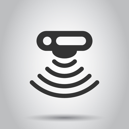 Motion sensor icon in flat style. Sensor waves vector illustration on white background. Security connection business concept.