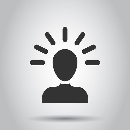 Mind people icon in flat style. Human frustration vector illustration on white background. Mind thinking business concept.