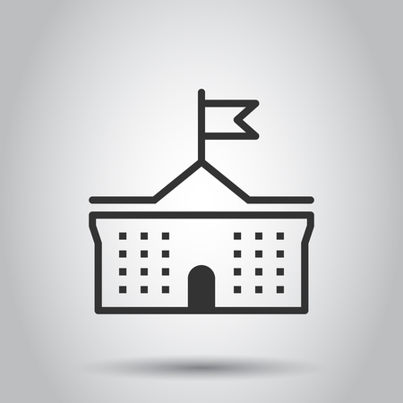 Bank building icon in flat style. Government architecture vector illustration on white background. Museum exterior business concept.