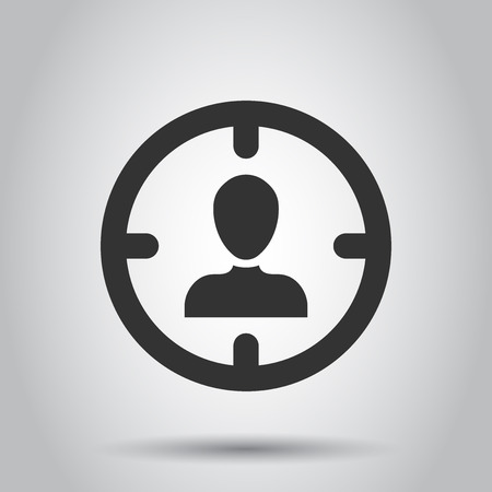 Target audience icon in flat style. Focus on people vector illustration on white background. Human resources business concept. 일러스트