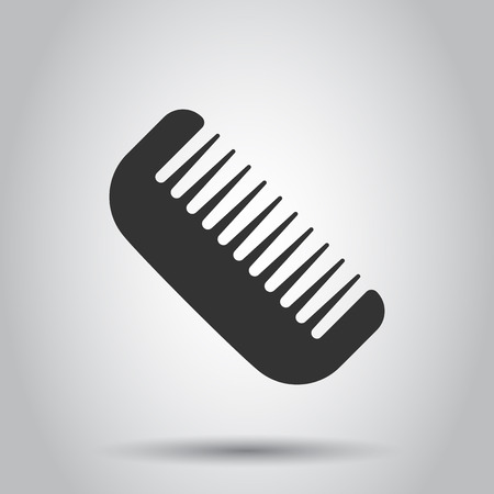 Hair brush icon in flat style. Comb accessory vector illustration on white background. Hairbrush business concept.