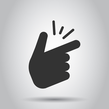 Finger snap icon in flat style. Fingers expression vector illustration on white background. Snap gesture business concept. Çizim