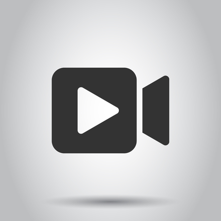 Video camera icon in flat style. Movie play vector illustration on white background. Video streaming business concept.