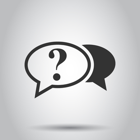 Question mark icon in flat style. Discussion speech bubble vector illustration on white background. Question business concept. Çizim