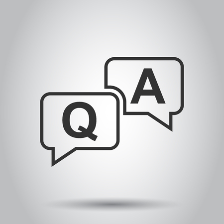 Question and answer icon in flat style. Discussion speech bubble vector illustration on white background. Question, answer business concept.