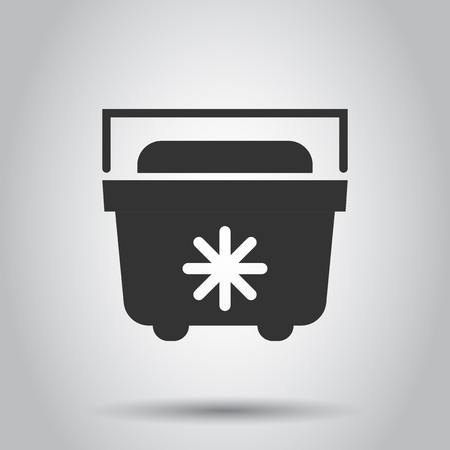 Portable fridge refrigerator icon in flat style. Freezer bag container vector illustration on white background. Fridge business concept. Çizim