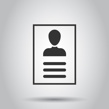 Resume icon in flat style. Contract document vector illustration on white background. Resume business concept.