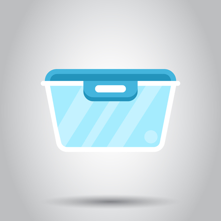 Food container icon in flat style. Kitchen bowl vector illustration on white background. Plastic container box business concept.