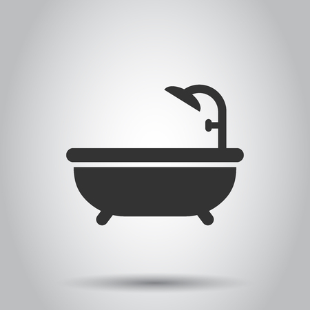 Bath shower icon in flat style. Bathroom hygiene vector illustration on white background. Bath spa business concept. Reklamní fotografie - 124789173