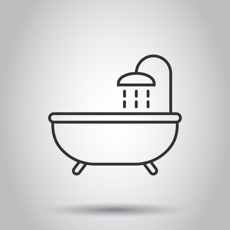 Bath shower icon in flat style. Bathroom hygiene vector illustration on white background. Bath spa business concept.
