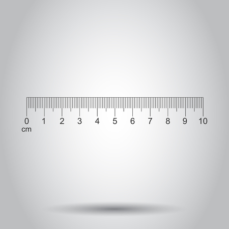 Ruler 10 centimeter icon in flat style. Meter measure instrument vector illustration on white background. Ruler business concept.