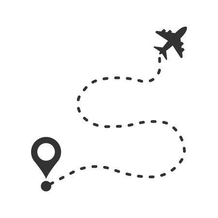 Airplane flight route icon in flat style. Travel line path vector illustration on white isolated background. Dash line trace business concept.