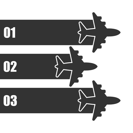 Airplane flight infographic icon in flat style. Plane travel banner vector illustration on white isolated background. Airline business concept. Çizim
