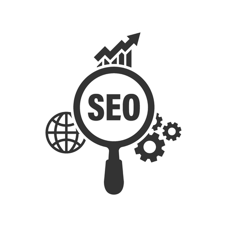 Seo analytics icon in flat style. Social media vector illustration on white isolated background. Search analysis business concept.