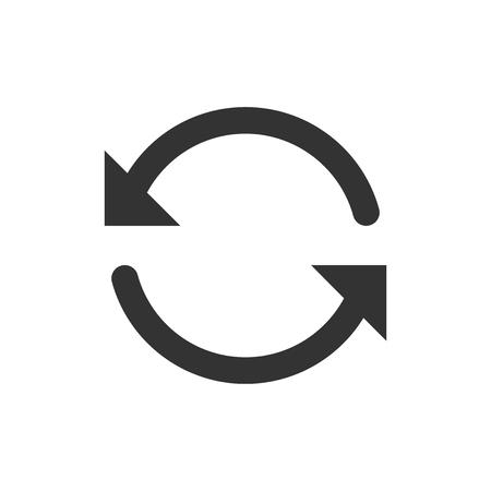 Icône de rotation de flèche dans un style plat. Illustration vectorielle d'action de synchronisation sur fond isolé blanc. Actualiser le concept d'entreprise de bouton.