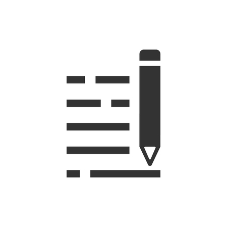 Pencil notepad icon in flat style. Document write vector illustration on white isolated background. Pen drawing business concept.