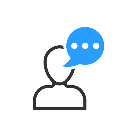 Man head mind thinking icon in flat style. Speech bubble with people vector illustration on white isolated background. Contemplating dialog business concept.