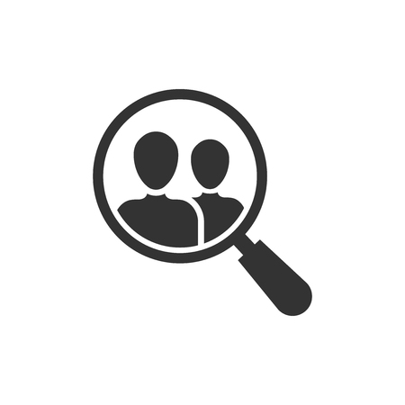 Search job vacancy icon in flat style. Loupe career vector illustration on white isolated background. Find vacancy business concept. Çizim