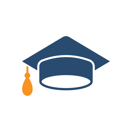 Graduation cap icon in flat style. Education hat vector illustration on white isolated background. University bachelor business concept. Stock Illustratie