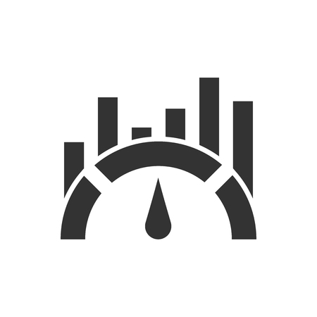 Benchmark measure icon in flat style. Dashboard rating vector illustration on white isolated background. Progress service business concept. Illustration